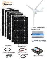 BOGUANG 600W Wind Turbines 600W Solar Hybrid system DIY kit solar panel home house wind generator controller turbine battery