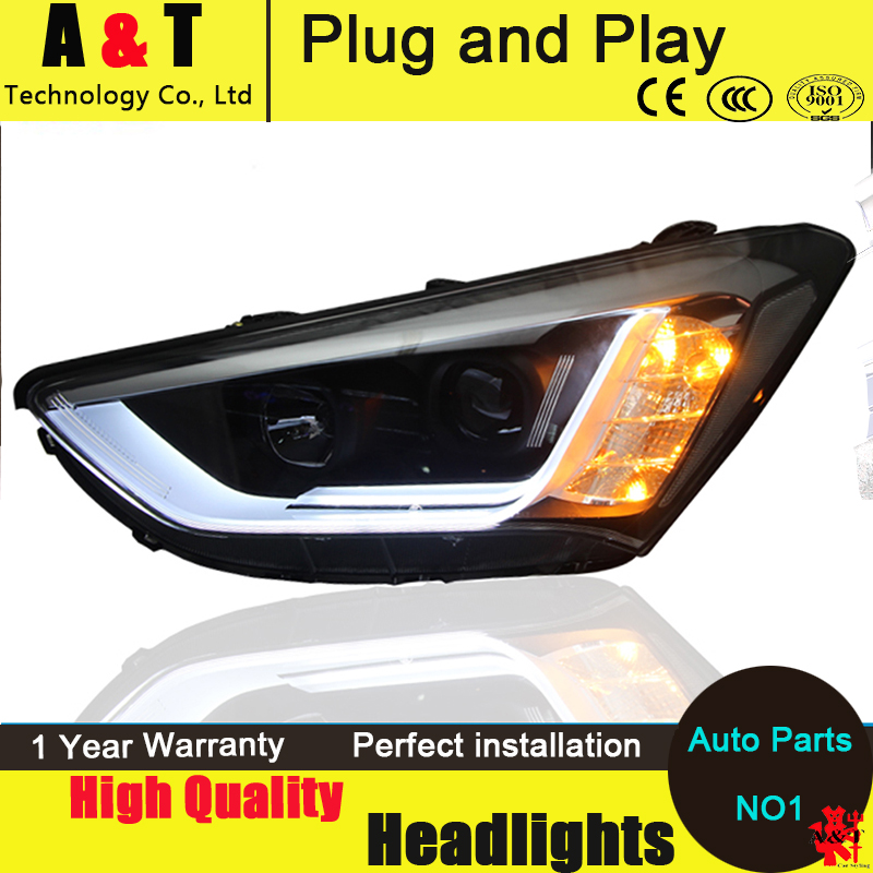 Car Styling For Hyundai IX45 headlight assembly 2013-2015 SantaFe LED Headlight Automobile angel eyes drl H7 with hid kit 2pcs. hireno headlamp for 2015 2017 hyundai ix25 crete headlight headlight assembly led drl angel lens double beam hid xenon 2pcs