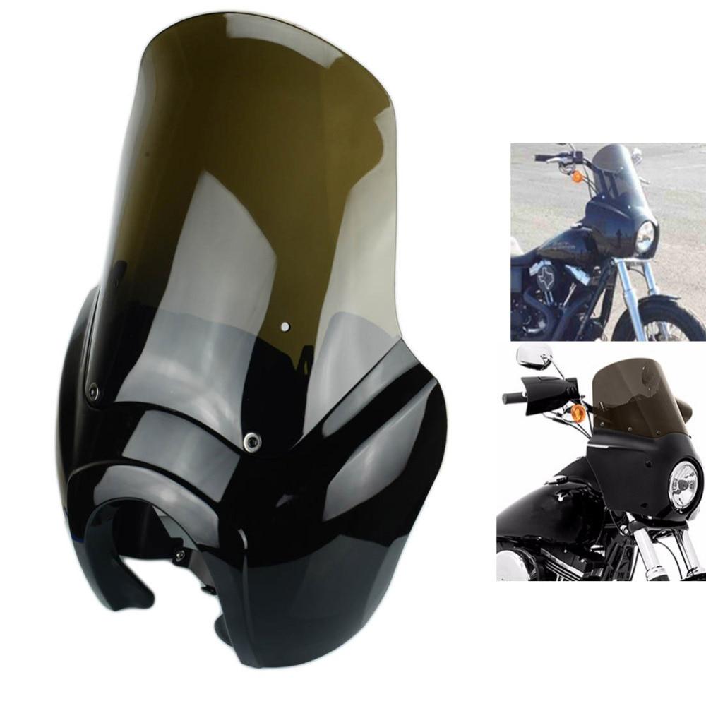 Motorcycle Headlight Mask W/Smoke Windshield Retro Gloss Black Front Fairing Hardware Kit For Harley Dyna FXDXT T-Sport HD