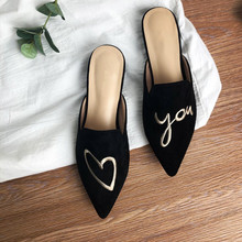 Ins Hot Black Suede Embroidery Slippers Women Love Half Drag Flat Slides Pointy Toe Soft Leather ciabatte donna