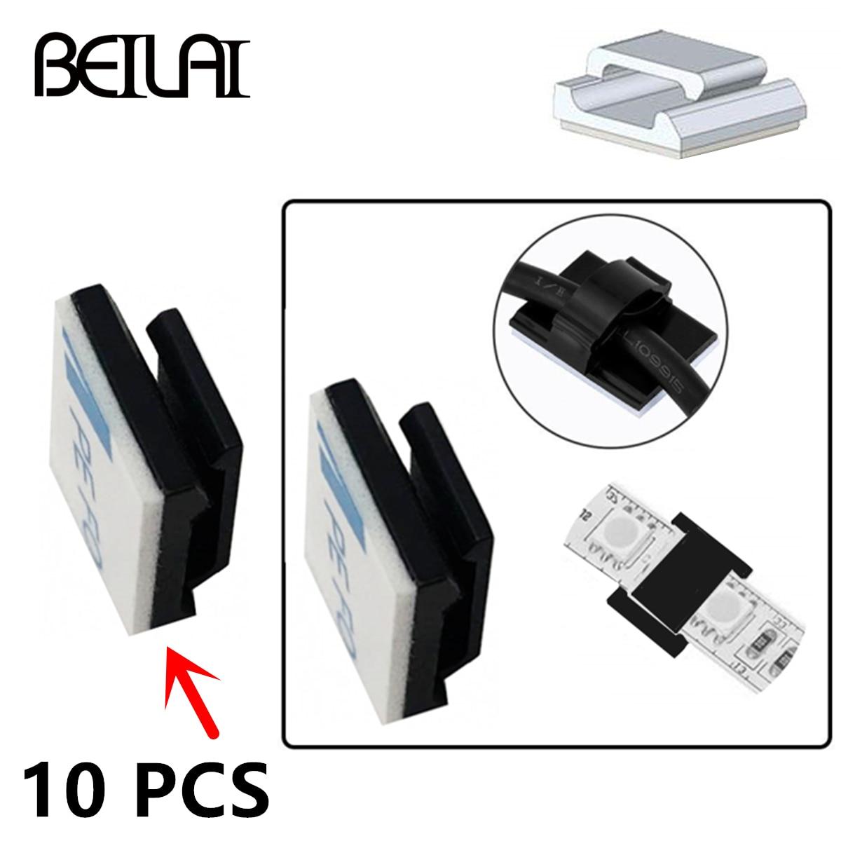 Wire Bundle Holder Tie Mount Clip Self-adhesive 10Pcs/Lot For 10mm Wide Fix RGBWW LED Strip Lights Connector Tie Mount Suitable