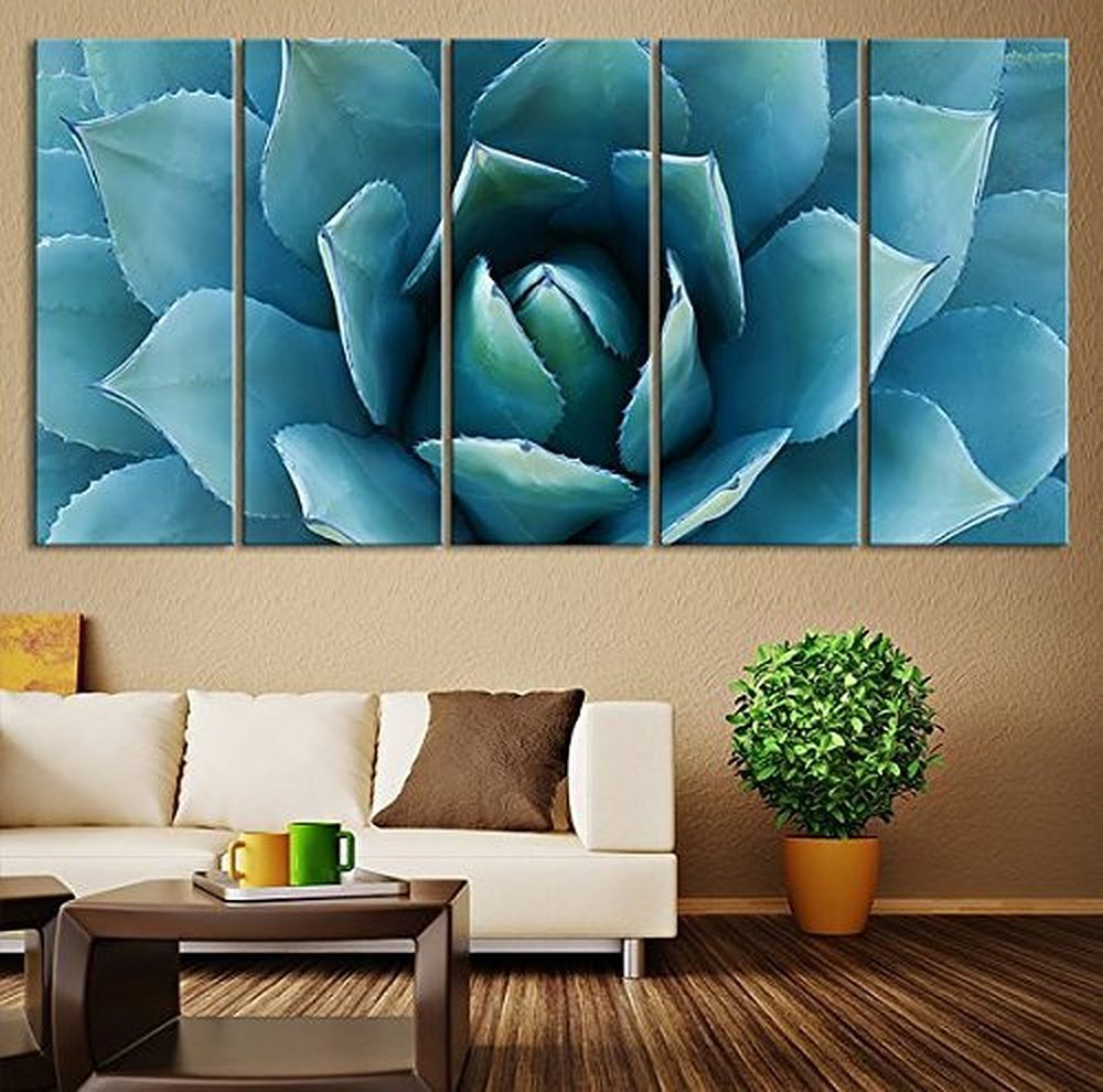 5 piece large wall art blue agave canvas prints agave flower large art canvas printing wall pictures for living room bedroom in painting calligraphy from