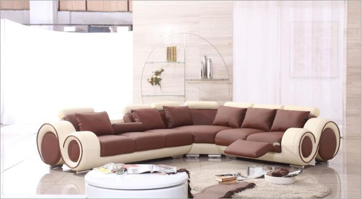 Canapé en cuir véritable de salon de style moderne a1290