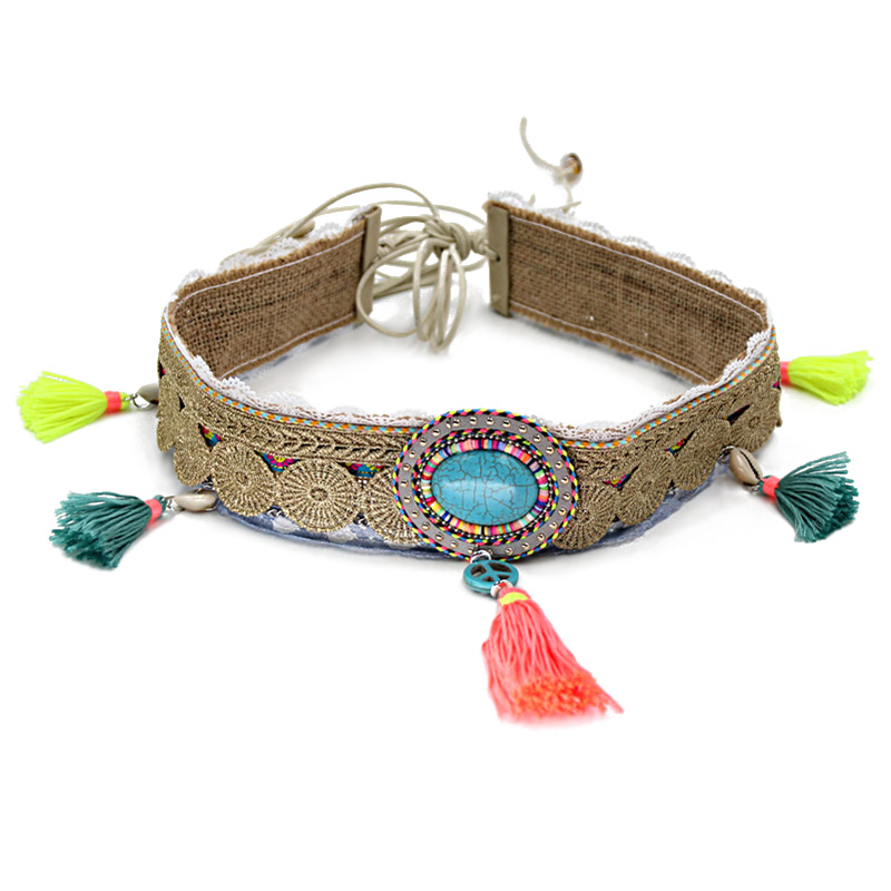 Fashion Tassel Waist Belt for Woman Bohemian Fringed Shell Turquoise Female Decoration Belt for Female Dress