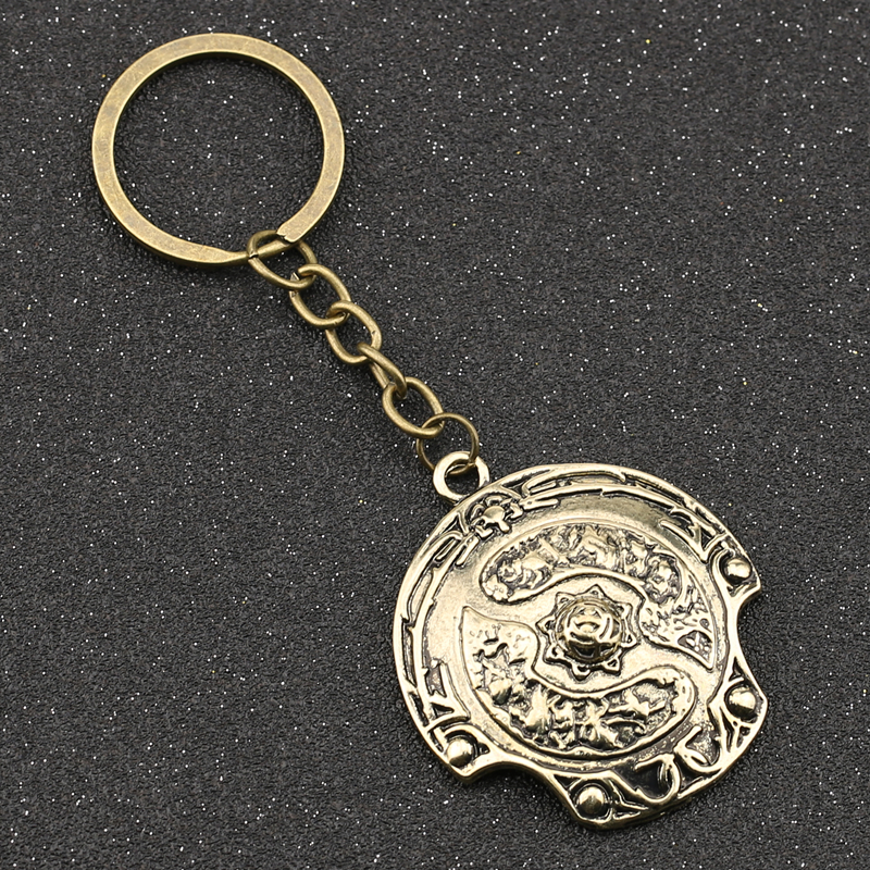 DOTA 2 Immortal Champion Shield Keychain Aegis of Champions Vintage Retro Antique Bronze Color Keyring Key Chain Ring Wholesale