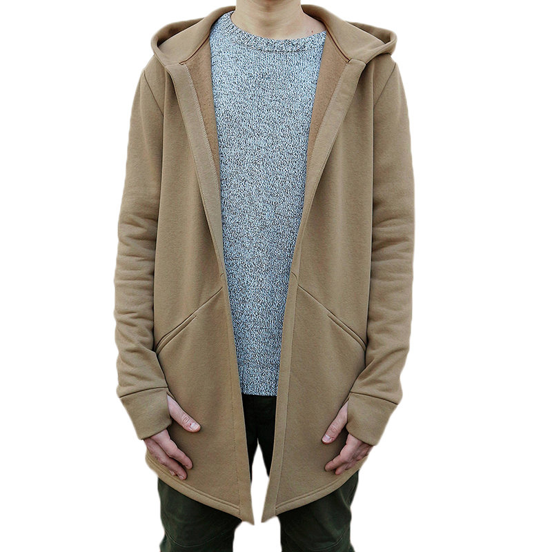 Winter Autumn Stylish Men Long Casual Hooded Trench Coat Male Loose Hoody Cardigan Jacket Outerwear Overcoat Plus Size 3XL