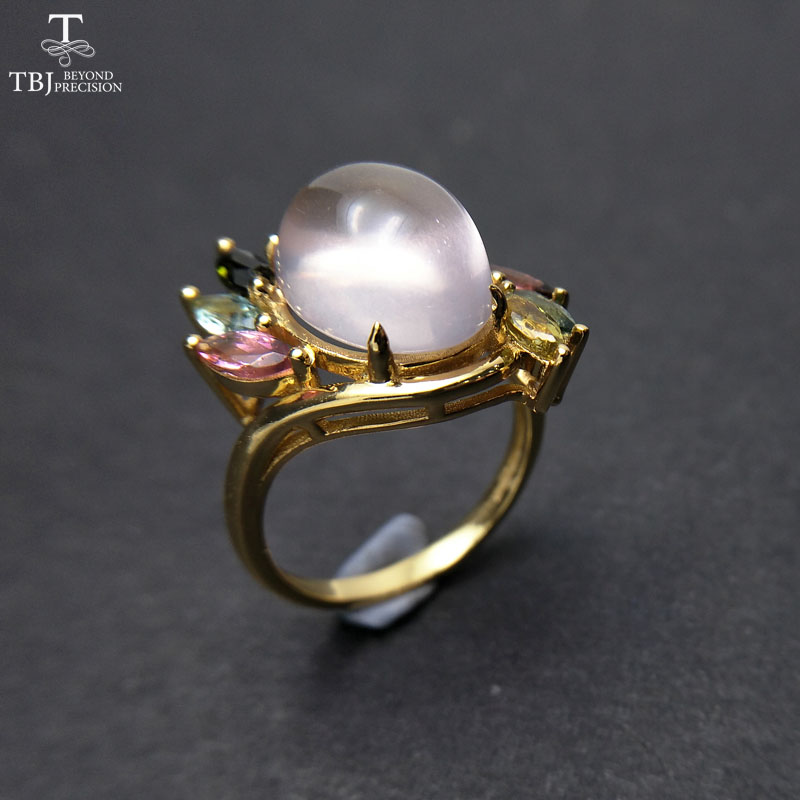 TBJ,Natural Ethiopian Rose quartz oval 10*12mm with  tourmaline gemstone Ring in 925 sterling silver for women with gift box-in Jewelry Sets from Jewelry & Accessories    2