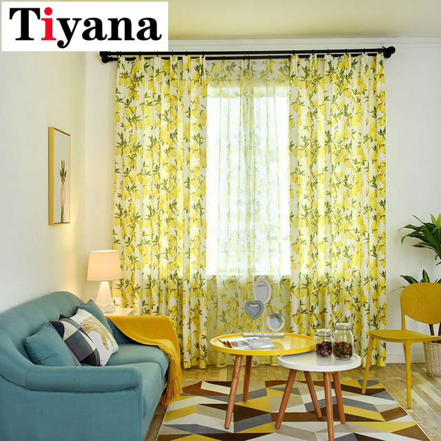US $5.4 40% OFF|Tulle curtains yellow living room window drapes curtain  rustic decoration for home kitchen cortinas dormitorio P166D3-in Curtains  from ...
