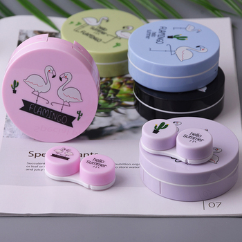 1PC Colorful Flamingo Contact Lenses box for Lenses Container Contact Lens Cleaner Lens Travel Mirror Travel Kit Eyewear Cases