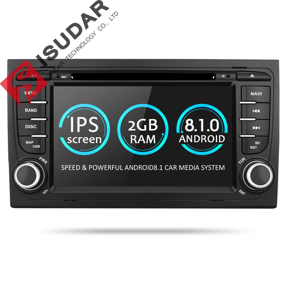 Isudar Car Multimedia System Android 8.1 2 Din Car DVD Player For Audi/A4/S4 2002-2008 GPS Radio FM DAB USB DVR DSP Rockchip цена