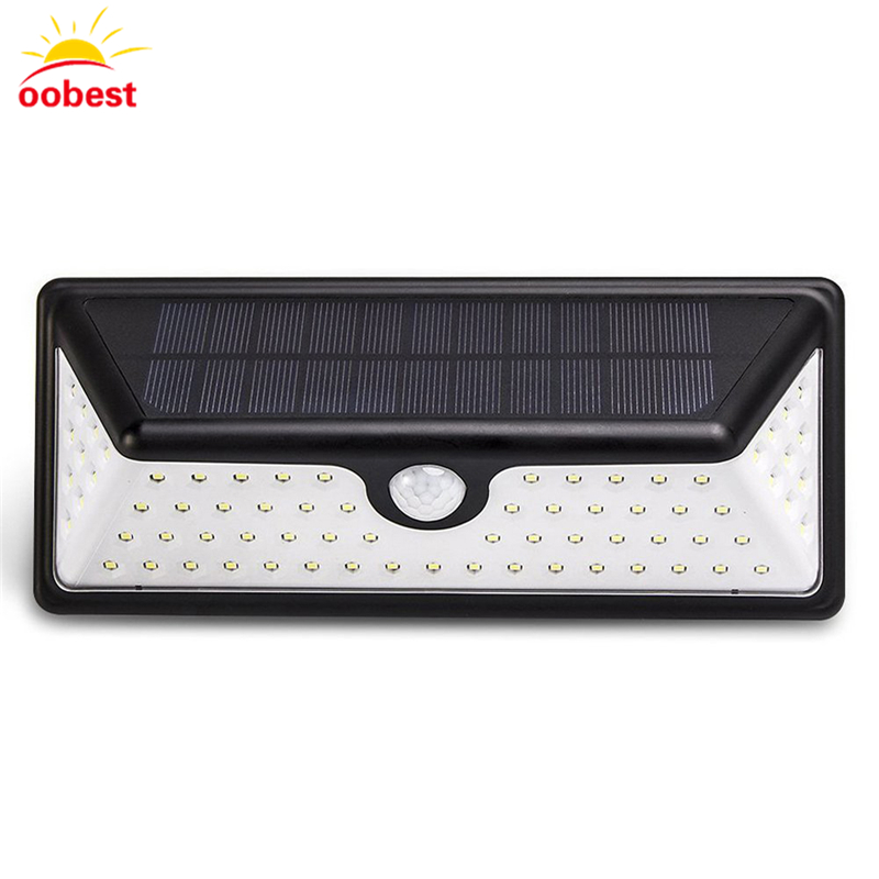 oobest 73 LED Solar Light lamp PIR Motion Sensor Outdoor LED Garden Light Wall Lamp Security Waterproof outdoor led garden light security 90 led solar light pir motion sensor solar powered emergency wall lamp waterproof ip65