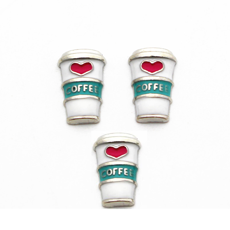 10pcs/lot Metal Enamel Love Coffee Cup Silver Floating Charms For Living Glass Floating Lockets Necklace Bracelet DIY Jewelry