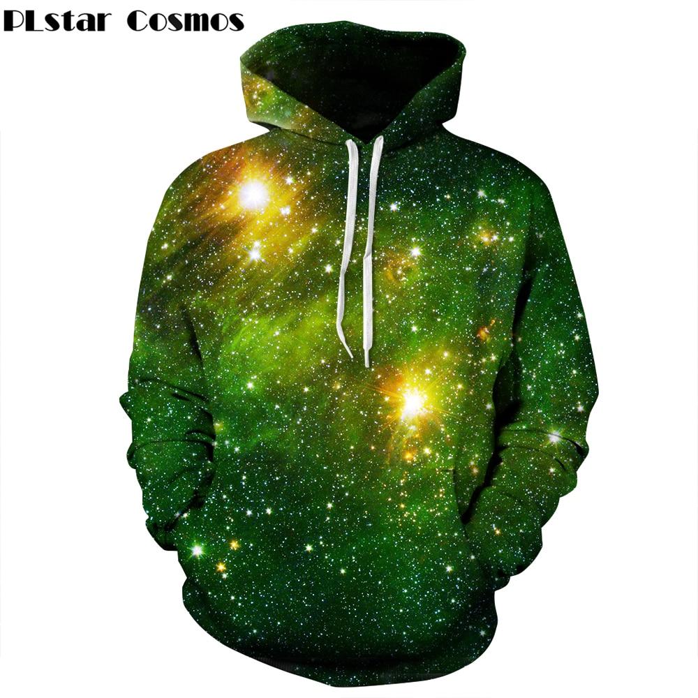 PLstar Cosmos Space Galaxy 3d Hooded Sweatshirts Men/Women Hoodies Print Stars Nebula 2017 Autumn Winter Loose Thin Hoody