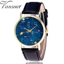 Vansvar Style Constellation Watch Informal Girls Wrist Watches Women Leather-based Galaxy Quartz Watches Relogio Feminino V37