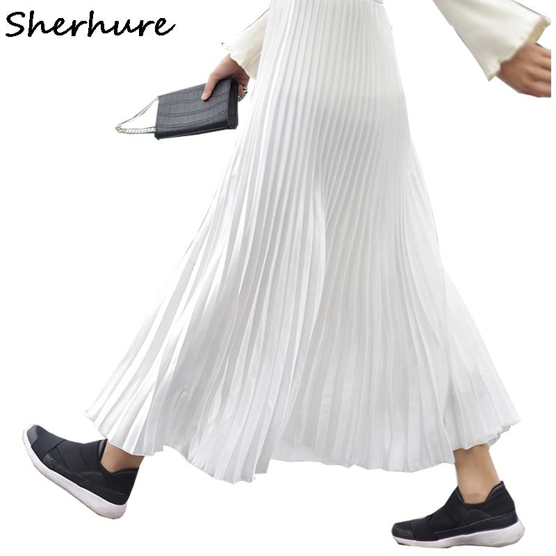 2018 Women Long Pleated Skirt High Waist Women White Long Skirt Female Autumn High Quality Vintage Women Maxi Skirt Saia