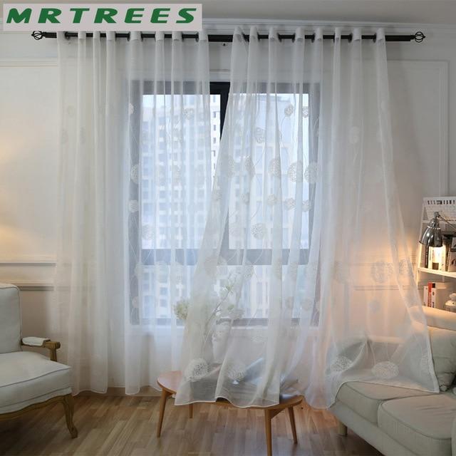 MRTREES Weiß Bestickte Bloße Fenstervorhänge Tüll Vorhänge für ...