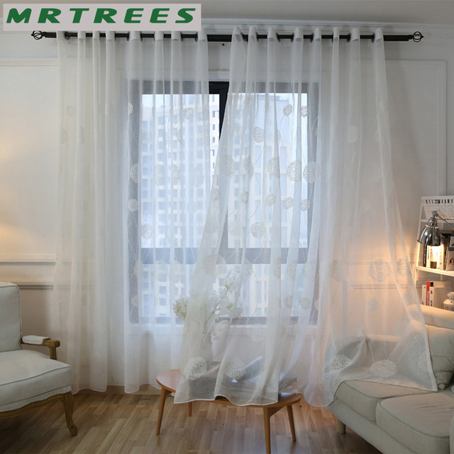 Mrtrees White Embroidered Sheer Window Curtains Tulle For Living Room Bedroom Kitchen Voile