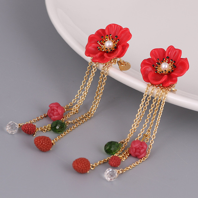 France Les Nereides Enamel Pendant Necklaces Berry Grape Cherry Fruits For Women Luxury Party Jewelry New Freeshipping