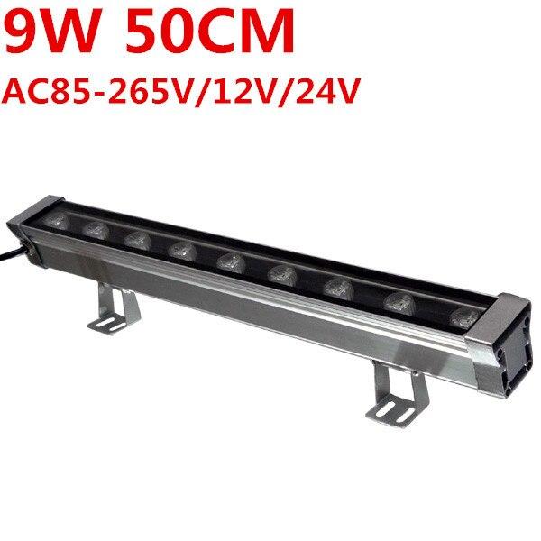 Nouveau 0.5M 9W mur LED laveuse paysage lumière ca 85 V-265 V 12V 24V extérieur lumières mur linéaire lampe projecteur 50cm walllaveuse