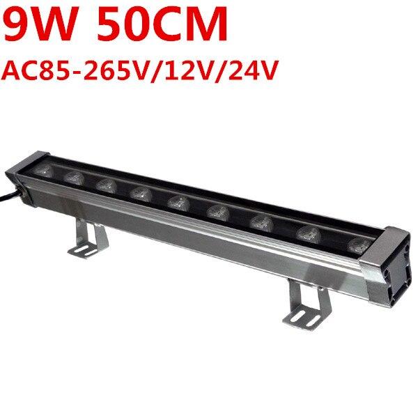New 0.5M 9W LED Wall Washer Landscape light AC 85V-265V 12V 24V outdoor lights wall linear lamp floodlight 50cm wallwasher