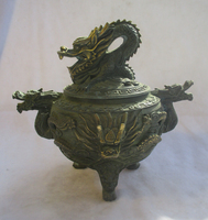 Редкий китайский старая бронза золотом золоченой резной дракон Ладан горелки/антикварной кадильницу