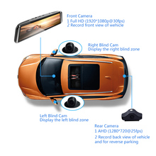 4 Channel Car Dash Cam 4G 10″ Touch ADAS Android Full 1080P Video Recorder Rearview mirror with DVR Camera 8 Core