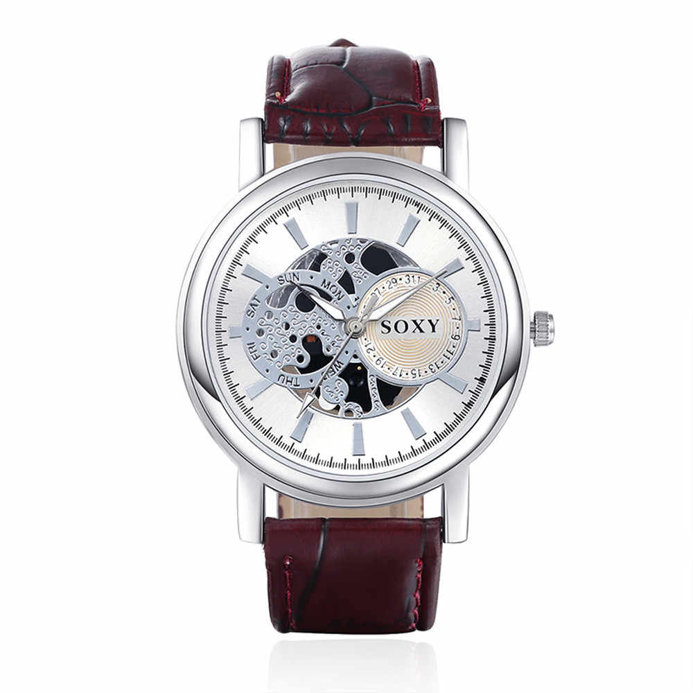 2019 Homens Relógio Do Esporte Relogio masculino De Luxo Homem Relógio Marca De Luxo Com Ouro Oco Relógio de Pulso de Couro Casual Relógios Presentes