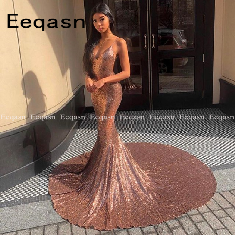 Rose Gold Sequined Mermaid Prom Dresses 2019 Sexy Backless Long Court Train Evening Dress Party For Women Customize