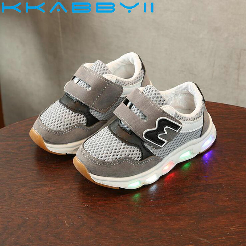 High Quality All Season Children Casual Shoes LED Lighted Breathable Kids Sneaker Glowin ...