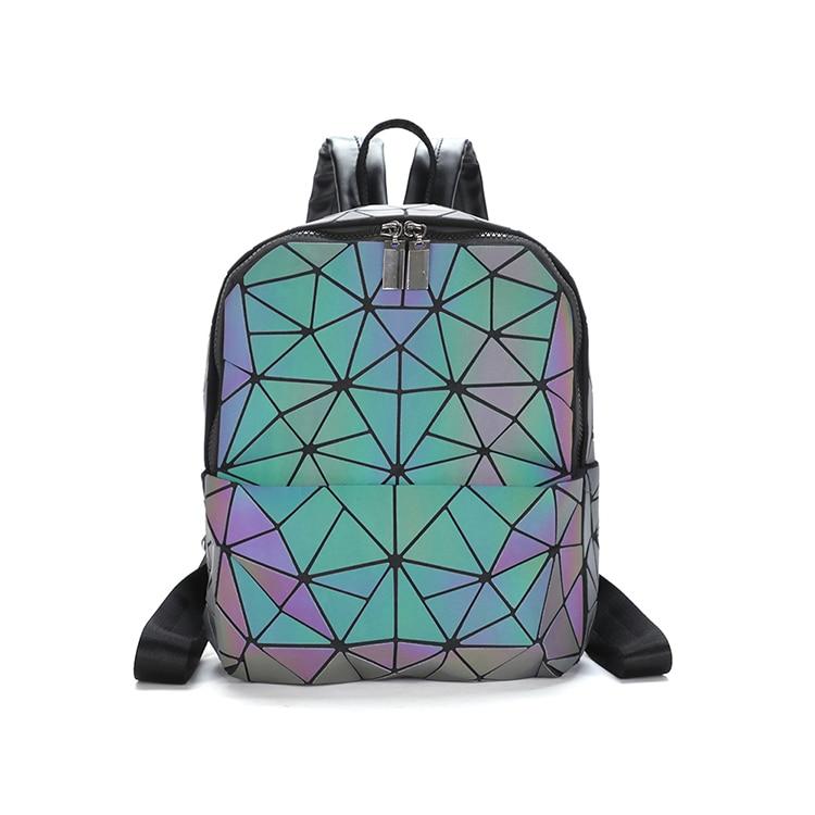 Mini Geometric Shoulder Bag Folding Student School Bags For Teenage Girl Hologram Bao Backpack Women Laser Luminous Backpack