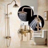 סט ברז מקלחת נחושת עתיק יוקרה הגעה חדשה/קישוט קרמיקה/קיר רכוב אמבטיה ברז + מקלחת כף יד