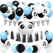 NICROLANDEE 57 pcs/set Panda Theme Kid Boy Girl Happy Birthday Decoration Kit Blue Pink Party New Home Decor DIY