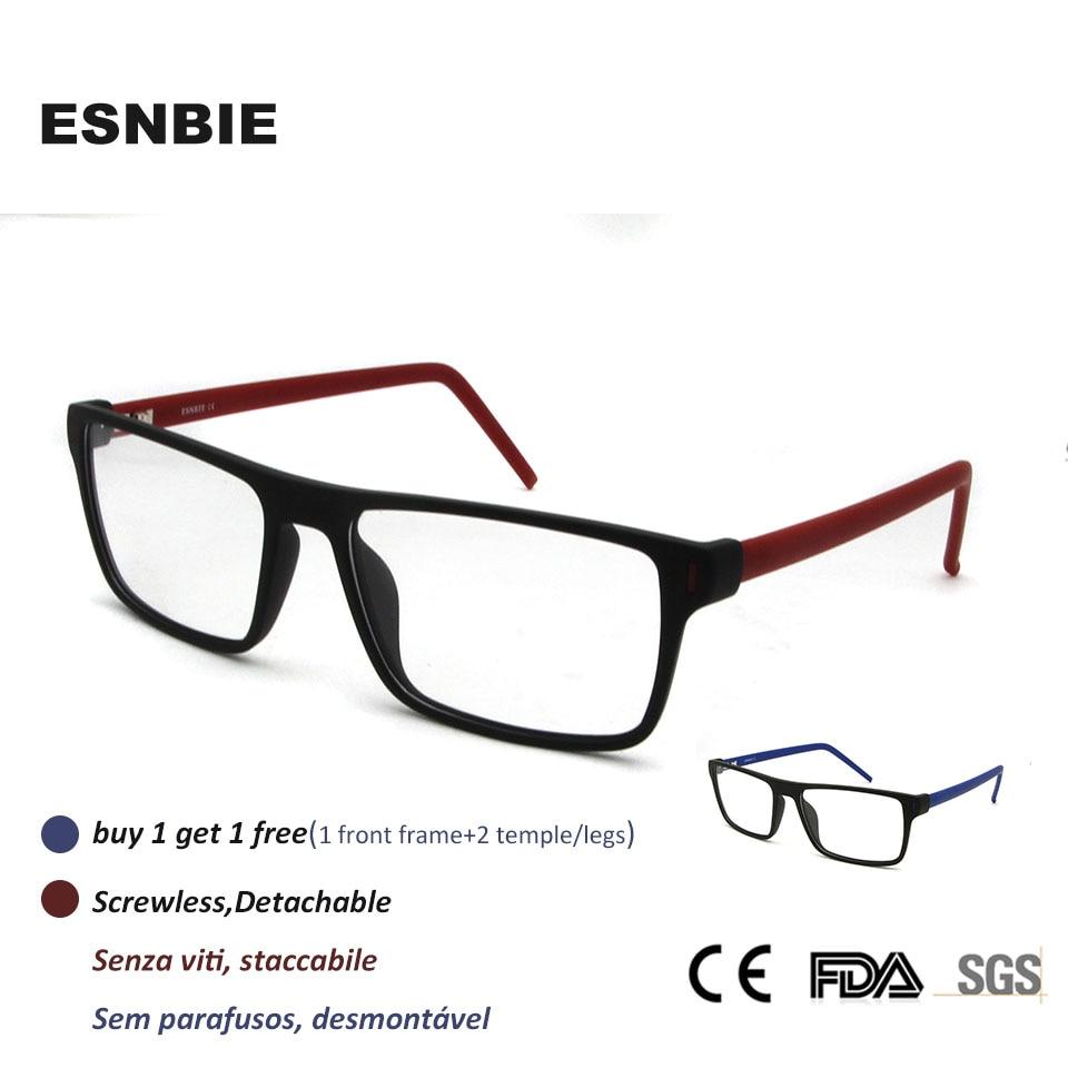 b010a9526b0af ESNBIE Designer Óculos Homens Ópticos Quadrados Prescrição TR90 Óculos de  Armação Mulheres Óculos Limpar Lens Sem