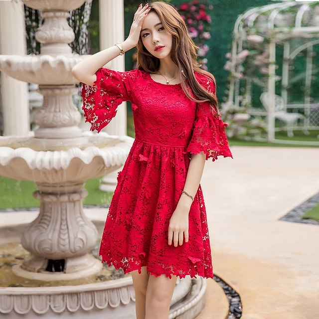 Autumn juniors elegant lace embroidery dress cultivating ball gown ...