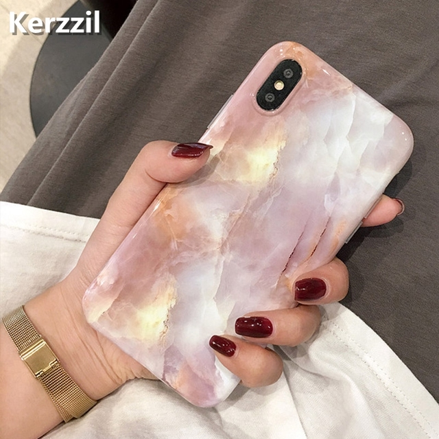 Kerzzil Vintage Marble Case For iPhone X XR XS Max 7 8 Plus Soft TPU Silicone Cover Cases For iPhone 8 7 6 6S Plus Back Capa