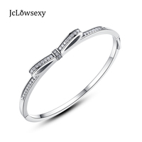 New Authentic 925 Sterling Silver Charm Sparkling Bow Bangles & Bracelets With Clear CZ Fit DIY Pan Beads Charms Jewelry Making
