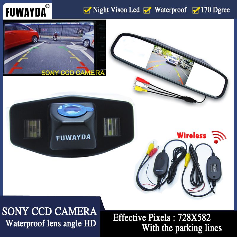 FUWAYDA Wireless car rear view backup parking camera+car monitor mirror TFT LCD for Honda Accord Pilot Civic Odyssey Acura TSX ...