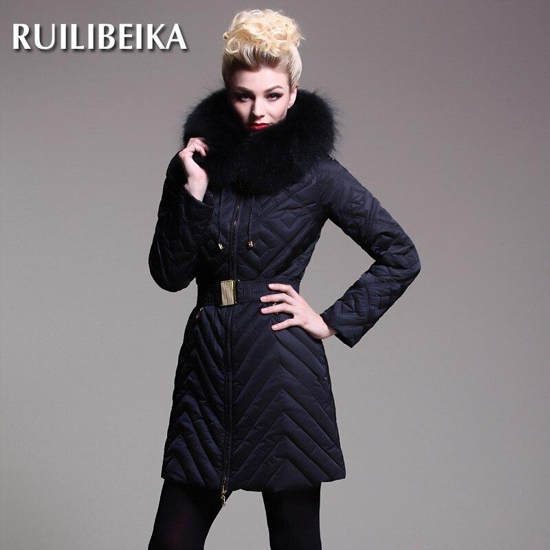 2014 Real Hot Sale Zipper Winter A Luxury High-end Women Medium Long Slim Raccoon Fur Collar Down Jackets Plus Size Coat Ems туфли px1507 2014 tarokko zipper ayumi