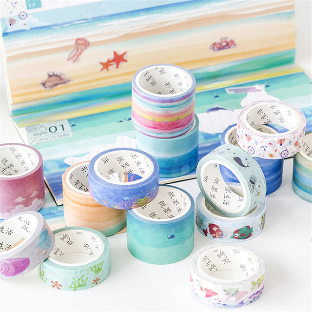 Cinta adhesiva decorativa de Washi adhesiva japonesa de la nube de la nota del océano de la playa