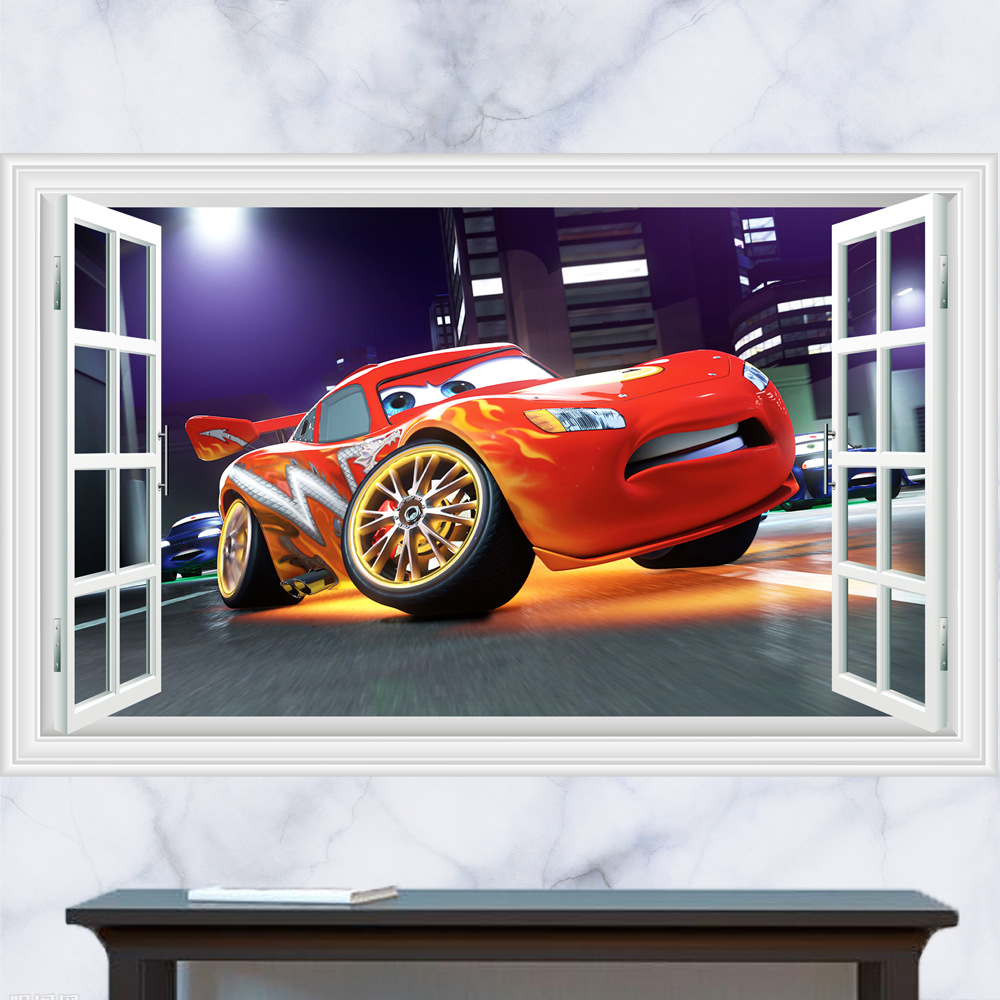 Car sticker design competition - New 60 90cm Cars Mcqueen Competition 3d Wall Stickers Fake Window Decorative Painting Living Room