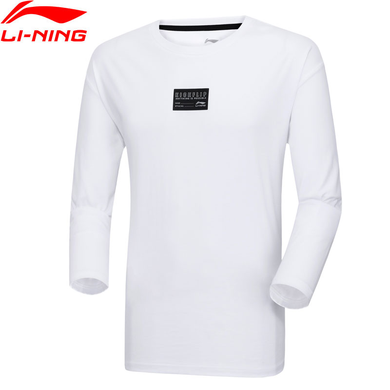 Li-Ning Men The Trend Long Sleeve T-Shirts Breathable 100%Cotton Jersey LiNing Li Ning Comfort Sports Tees Tops AHSP031 MTL1043