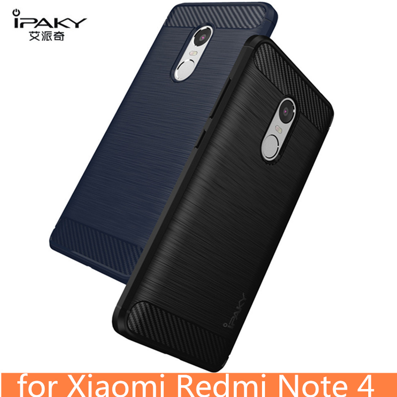 for Xiaomi Redmi Note 4 Case Original IPAKY Silicone Carbon Fiber Hybrid Protective Cover for Xiaomi Redmi Note 4 case