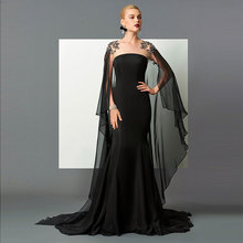 Tanpell Black Evening Dress Scoop Neck Beading Lace Watteau Train Women Floor length Mermaid