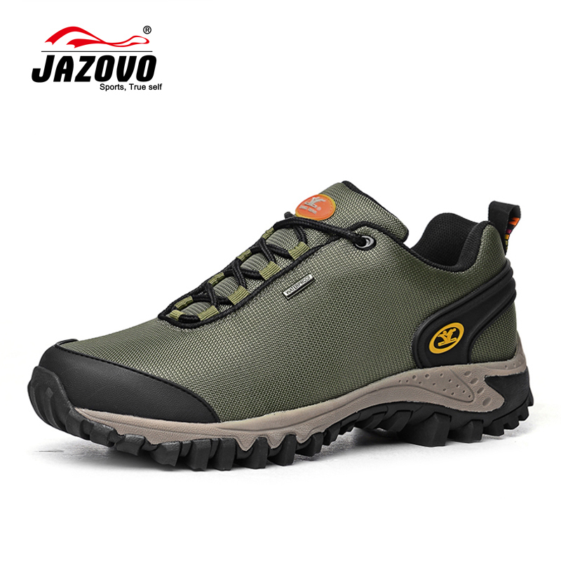 Jazovo 2017 Outdoor Shoes Men Breathable Sport Shoes Autumn Winter Hiking Trekking Boots Black Mens Mountain Boots Windproof