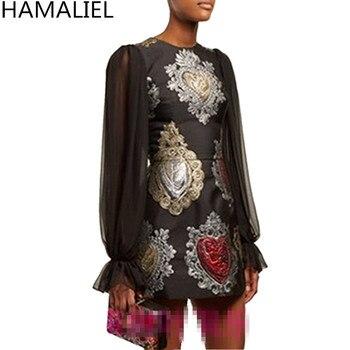 Hamaliel осень Для женщин взлетно-посадочной полосы дизайнерские мини платья Винтаж плетением в стиле пэчворк с цветочным принтом жаккард Повс...