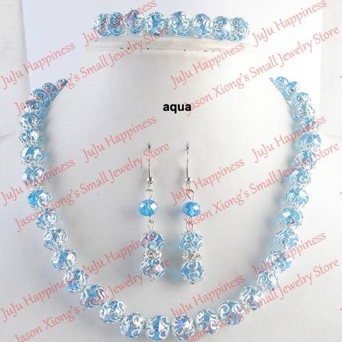 one set Handmade Aqua Crystal Glass Beads Jewelry Set Necklace,Earring and Bracelet 234(China)