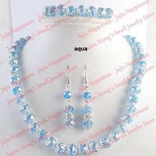 one set Handmade Aqua Crystal Glass Beads Jewelry Set Necklace,Earring and Bracelet 234