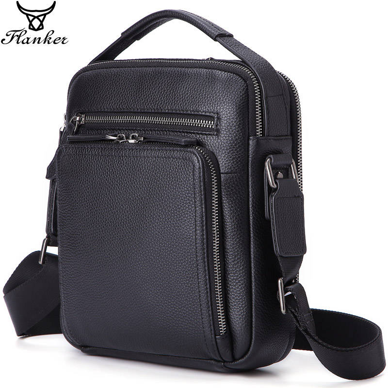 "Flanker genuine leather shoulder bags for men fashion messenger bags zipper designer male crossbody bags handbags for 9.7"" Ipad"