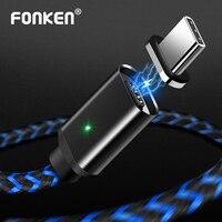 FONKEN USB Typ C Magnetische Kabel Telefon Magnet Kabel Max 2.4A Schnelle Ladegerät USB C Ladung FÜHRTE Sync Daten Kabel nylon geflochtene Draht
