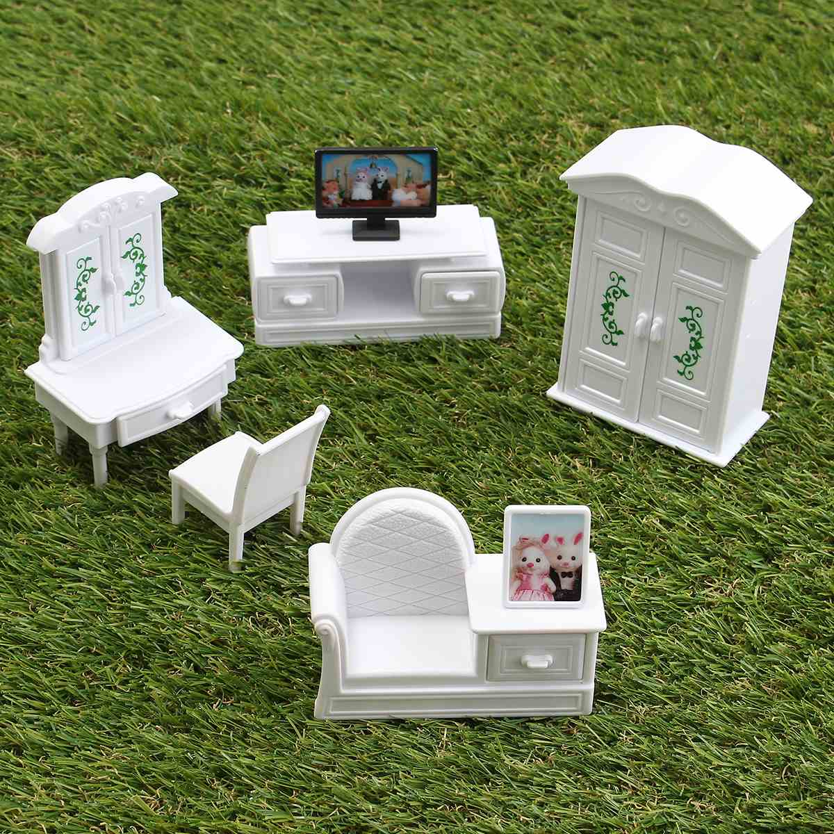 Lovely DIY White Living Room Set Plastic Doll House Miniatures Furniture Sets Kits font b Toy